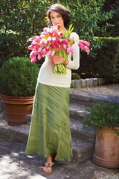 Women Knit Tiered Skirt.  Soft Surroundings has had this skirt for several seasons now, and I just love it.  Comes in fern, sea glass, and coral rose.  Love them all.