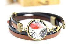 Bracelet cabochon rouge en cuir pour femme COLLECTION