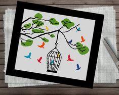 Birds Cross Stitch Pattern, Colorful Cross Stitch Pattern, Modern Cross Stitch Template, Xstitch Chart, PDF Instant Download, Modern Xstitch  #crossstitch #crossstitchpattern #crossstitchchart #embroiderypattern #colorfulcrossstitch #crossstitchtemplate Cross Stitch Sea, Simple Cross Stitch, Cross Stitch Charts, Cross Stitch Embroidery, Embroidery Patterns, Easy Cross Stitch Patterns, Template, Etsy, Bird Cage