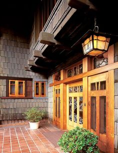 Craftsman style front entrance.