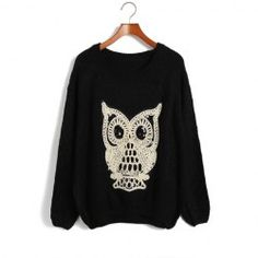$12.52 Loose Fit Scoop Neck Owl Print Sequin Decoration Irregular Bottom Long Sleeves Knitting Sweater For Women