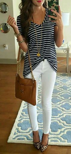 copycat outfit with Mayberrys! Copy this outfit for less with Mayberrys by Amy. White cutout leggings and a striped cross back top. Less than $50