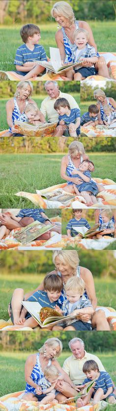 don't forget to include grandma and grandpa in the photos of the kiddos...the pictures will provide precious memories for both generations...and nothing is easier than picking out your favorite book with a blanket to sit on