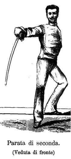 Parry in Seconde- Masaniello Parise from Trattato Teorico-pratico della Spada di Scherma e Sciabola, 1884