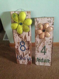 Custom painted Softball or Baseball Sign by RockfordVintageRust