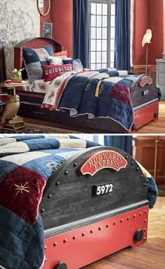 Off Harry Potter Hogwarts Express Single Bed @ Pottery Barn Kids The ultimate bed for a Potterhead! Grab it on sale now! Off Harry Potter Hogwarts Express Single Bed @ Pottery Barn Kids The ultimate bed for a Potterhead! Grab it on sale now! Baby Harry Potter, Harry Potter Thema, Deco Harry Potter, Harry Potter Nursery, Theme Harry Potter, Harry Potter Hogwarts, Pottery Barn Kids, Harry Potter Christmas Decorations, Home Design