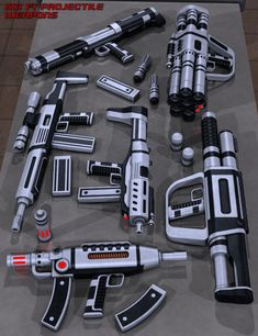 This design software includes a collection of sci-fi themed projectile weapons. An assault rifle and machine pistol with removable clips, gauss gun with removable clip and power cell, shotgun, grenade launcher with pre-loaded grenade and a rocket la Anime Weapons, Sci Fi Weapons, Weapon Concept Art, Fantasy Weapons, New Technology Gadgets, High Tech Gadgets, Futuristic Robot, Futuristic Technology, Arte Tech