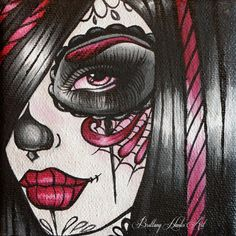 Day of the Dead Art Rockabilly gothic dark art by Pajamasquid, $11.00