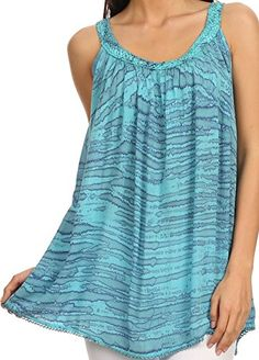 Sakkas 11628  Rachel Verigated Embroidered neck Picot trim Tank top  Blue  OS ** You can find out more details at the link of the image.Note:It is affiliate link to Amazon.