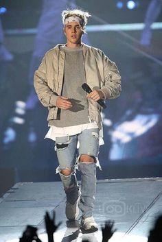 Justin Bieber wearing Fear of God 4th Collection Bomber, Fear of God 4th Collection Selvedge Denim Vintage Indigo Jean, White Lines Clo. Bandana, Fear of God S/S Mockneck Sweatshirt, Adidas Ultra Boost Sneakers
