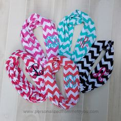Monogrammed Chevron Infinity Scarves- not really into the whole monogramming thing but I would totally get one of these!