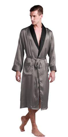 22 Momme Men Black Collar Silk Robe 100% Pure Silk Dark Gray By LilySilk -  XXL 44-46. annalilysilk · lilysilk pajamas 9440b8764