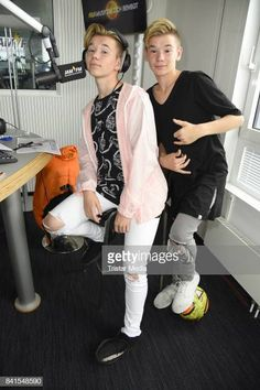 Marcus Martinus are seen during their visit to 936 JAM FM on September 1 2017 in Berlin Germany Berlin Photos, M Photos, Love Twins, Dream Boyfriend, Love U Forever, Hot Guys, Hot Men, Celebs, Celebrities