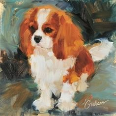 "Cavalier King Charles Spaniel ""Bright Promise"" fine art pigment print on canvas Canvas Mobile, Cavalier King Charles Spaniel, Dog Portraits, Animal Paintings, Dog Art, Painting & Drawing, Illustrations, Fine Art, Drawings"