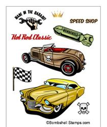 Bombshell Stamps - Hot Rod Car Stamps and Motorcycle Rubber Stamps