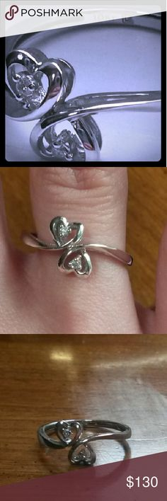 Lab Created White Sapphire Sideways Cross Double Heart Ring in