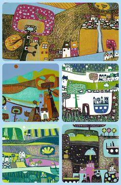 Delightful Lino Print, Painting, Wall Art Print, Gifts by Laylart Linoprint, Linocut Prints, Landscape Art, Printmaking, Wall Art Prints, Print Design, Flowers Nature, Etsy Seller, Abstract