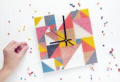 DIY Clock hama perler beads by Frkhansen Perler Bead Designs, Hama Beads Design, Perler Bead Templates, Diy Perler Beads, Hama Beads Patterns, Pearler Beads, Fuse Beads, Beading Patterns, Modele Pixel Art