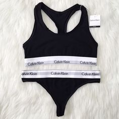 Calvin Klein sports bra and thong •size: tag says L but fits a M better  •features: matching black Calvin Klein sports bra and thong underwear set  •will give measurements if needed  •new never used  •no trades   price is pretty FIRM  ❗️ if this item does not fit you CANNOT return it - poshmark policy   ❗️ all sales are FINAL Calvin Klein Intimates & Sleepwear Bras