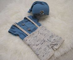 3 Pieces Newborn Set: Newborn Romper Pants & Sleepy hat