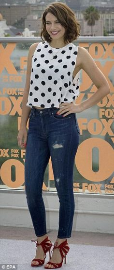 Little bit Bohemian, little bit rock 'n roll: Melissa McBride chose a loosely fitted dress and sheer black wrap while Lauren Cohan opted for polka dotted blouse, jeans and red heels