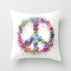 #Peace #Peaceforworld Throw Pillow by Miss L In Art | Society6