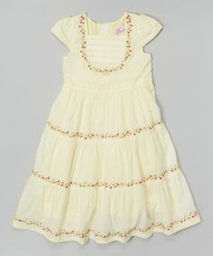 Another great find on #zulily! Yellow Floral Tier Cap-Sleeve Dress - Infant & Girls by Donita #zulilyfinds