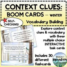 Boom Cards - Context Clues: Vocabulary Building (WINTER) Vocabulary List, Vocabulary Building, Vocabulary Words, Context Clues, Figurative Language, Inference, Multiple Choice, Reading Skills, Word Work
