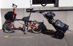 Brompton Orange Burley Travoy Groceries Burley Trailer, Burley Travoy, Bike Packing, Cargo Bike, Brompton, Hood Ornaments, Touring, Cycling, Freedom