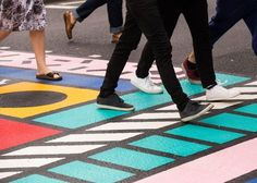 Working with a specialist road markings company, Camille Walala has applied her trademark bold colours and shapes to a pedestrian crossing in London. Tactile Paving, Camille Walala, Pedestrian Crossing, Road Markings, Floor Graphics, London Design Festival, Truck Interior, Architecture Graphics, Environmental Graphics