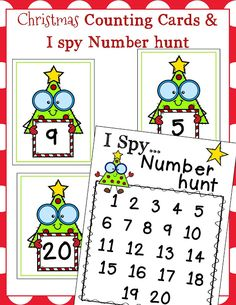 Christmas Tree Counting Cards and Number Hunt Preschool Christmas, Toddler Christmas, Christmas Activities, Christmas Themes, Number Activities, Craft Activities For Kids, Toddler Activities, Preschool Activities, Christmas Art Projects