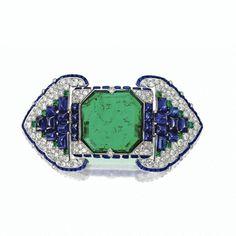 Art Deco Emerald, sapphire and diamond Belt brooch, Cartier, Paris, 1922