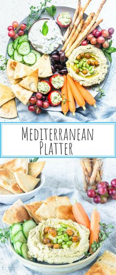 This is a Mediterranean Platter featuring 3 recipes: Edamame Hummus Sourdough Grissini and Rosemary Pita Chips! Come check them out! Hummus Platter, Antipasto Platter, Charcuterie Platter, Hummus And Pita, Edamame Hummus, Mediterranean Platters, Mediterranean Recipes, Healthy Vegetable Recipes, Vegetarian Recipes