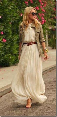 Beautiful Chiffon maxi Dress with Stylish Jacket and Accessories