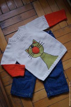 """Купить Детский джемпер """"Мартовский кот"""" - рисунок, кот, свитер для мальчика, свитер для девочки"""