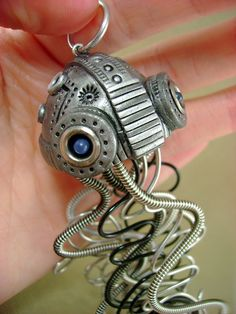 The Original Mechanical Jellyfish - Large  - Dark Aquatic Steampunk Creature - Pendant / Necklace. $69.00, via Etsy.