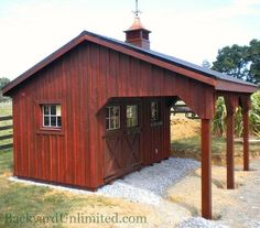 8'x14' Custom Garden Shed with Board and Batten Siding, Mahogany Stain, Extended Overhang, Metal Roof, and Cupola http://www.backyardunlimited.com/horse-barns.php