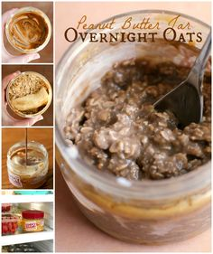 Peanut Butter Jar Overnight Oats use the last bit of peanut butter left in the jar to make easy and healthy overnight oats...right in the jar!