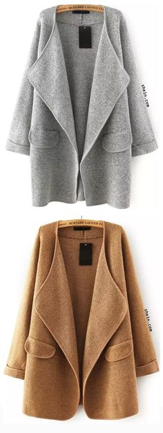 Lapel Long Sleeve Loose Sweater Coat