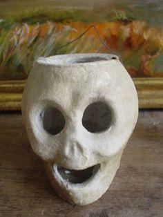 Paper Mache skull lantern, antique skull lantern....