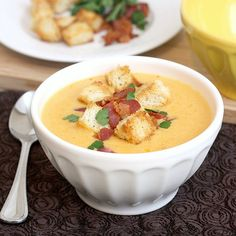 Cheddar Ale Soup with Homemade Croutons by Tracey's Culinary Adventures, via Flickr