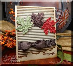 Rustic Leaves Card...using corrugated cardboard, craft store leaves & lovely brown ribbon.