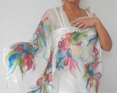 nuno felted silk scarf shawl SPRING FLOWERS handmade art to