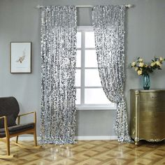 Big Payette Sequin Curtains Silver Pack of 2 Window Treatment Panels With Rod Pockets Sequin Curtains, Silver Curtains, Drapes Curtains, Bedroom Curtains, Blackout Curtains, Window Panels, Window Wall, Design Creation, Glam Room
