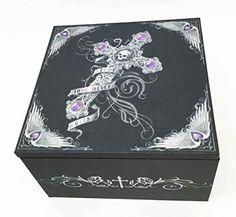 Gothic Skull Cross True Love Never Dies Anne Stokes Jewelry Trinket Mirror Box, Grey