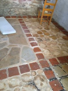 first kind of cordwood floor. wood in beton, the fillings are painted. the cover… first kind of cordwood floor. wood in beton, the fillings are painted. the cover is lacquer Linoleum Flooring, Bedroom Flooring, Transition Flooring, Playground Flooring, 2x4 Wood, Armstrong Flooring, Tile Floor, Garden Design, Flowers