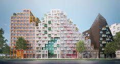 Manuelle Gautrand Designs Futuristic Housing Block for Amsterdam,Hyde Park Residence. Image Courtesy of Romain Ghomari Hyde Park, Amsterdam Images, Bungalow, Green Terrace, University Housing, Glazed Brick, Amsterdam Houses, Futuristic Home, Black Brick