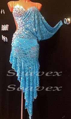 Sexy Competition Ballroom Cha Cha Ramba Latin Dance Dress US 8 UK 10 Blue Lace | eBay