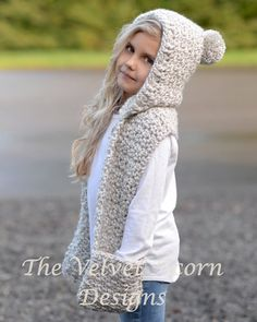 This is a listing for The PATTERN ONLY for The Summit Hooded Scarf  This hooded scarf is handcrafted and designed with comfort and warmth in