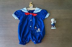 """Vintage Baby Clothes,""""Little Sailor"""" Girl or Boy Sailor Romper Embroidered with Heart Shape Button,Cradle Togs,0-3 Months on Etsy, $18.00"""
